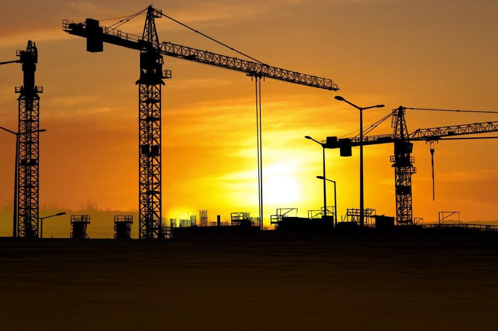 sunset, industry, construction